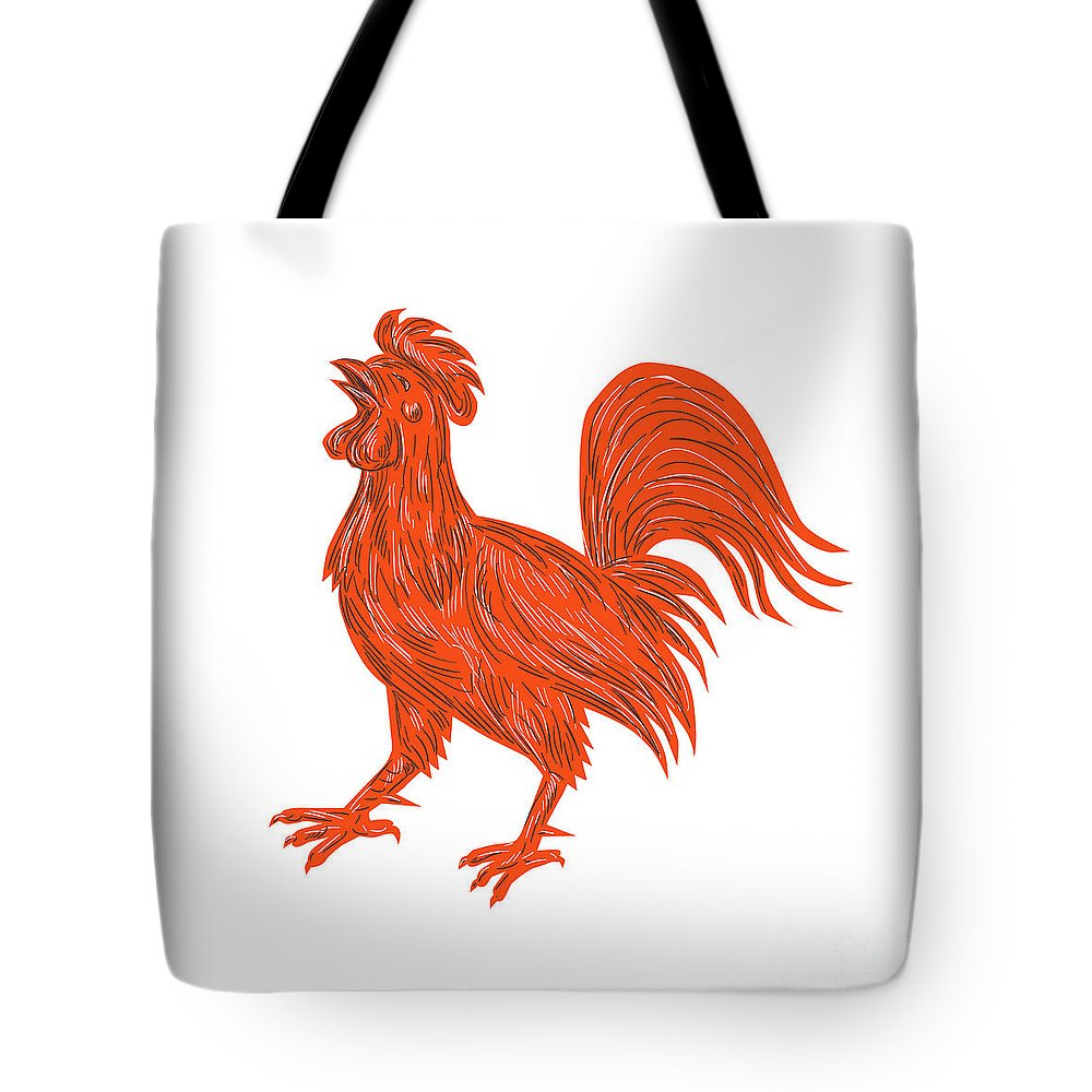 Drawing Tote Bag featuring the digital art Chicken Rooster Crowing Drawing by Aloysius Patrimonio