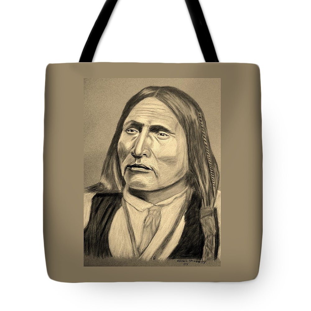 Big Bow Tote Bag featuring the drawing Chief Big Bow by Edward Stamper