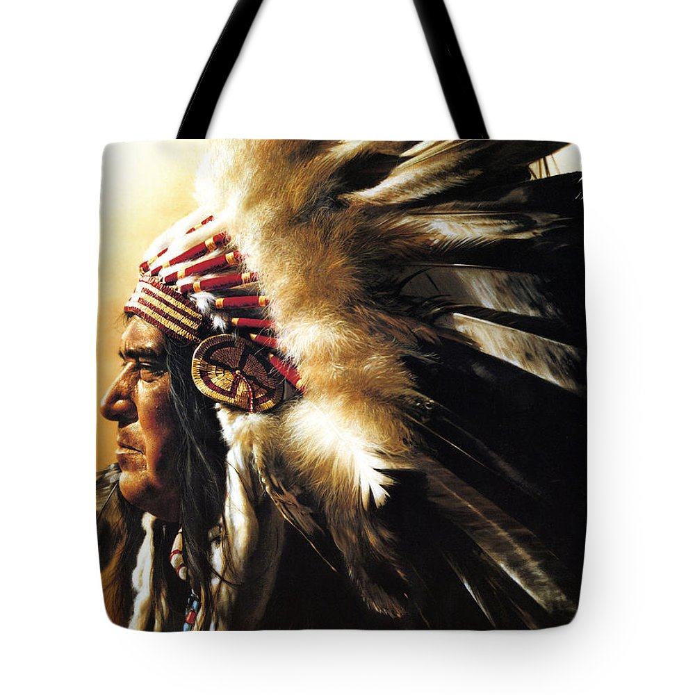 Native American Tote Bag featuring the painting Chief by Greg Olsen