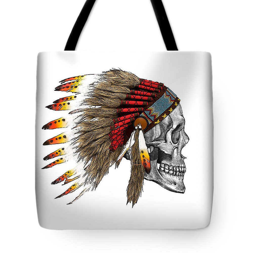 Indian Tote Bag featuring the digital art Chief headdress on human skull native american art by Madame Memento