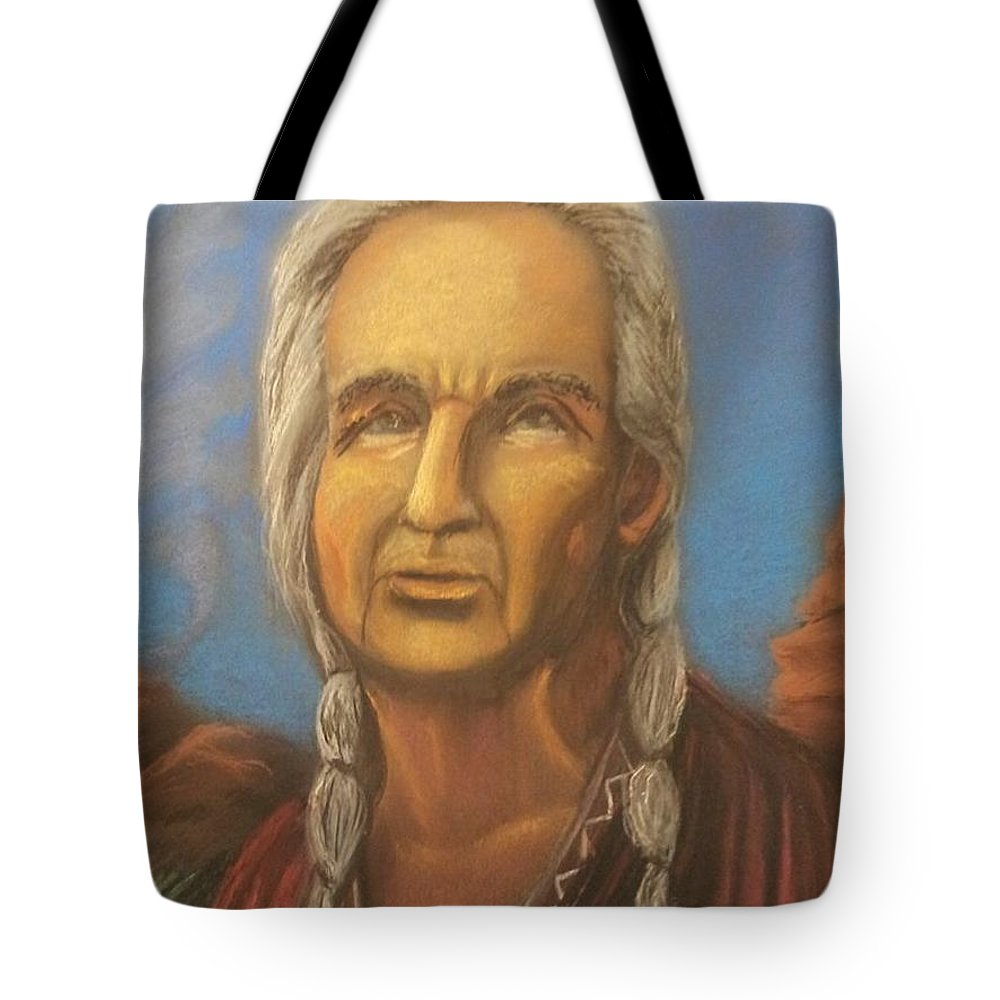 Native American Tote Bag featuring the painting Chiefly Wisdom by Janne Henn