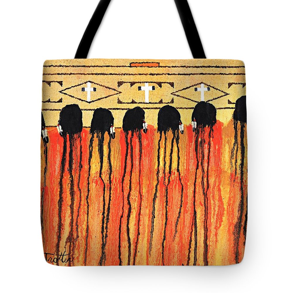 Indians Tote Bag featuring the painting Chiefs Blanket by Patrick Trotter