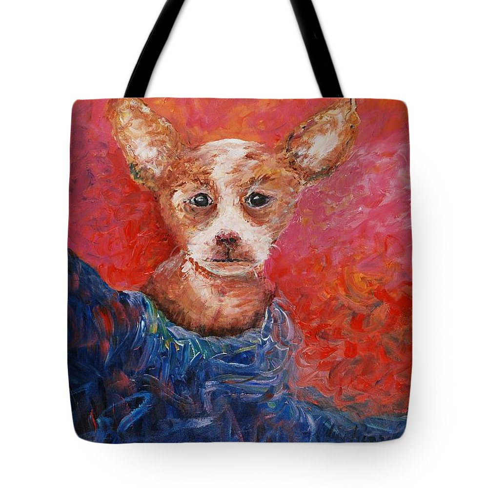 Dog Tote Bag featuring the painting Chihuahua Blues by Nadine Rippelmeyer