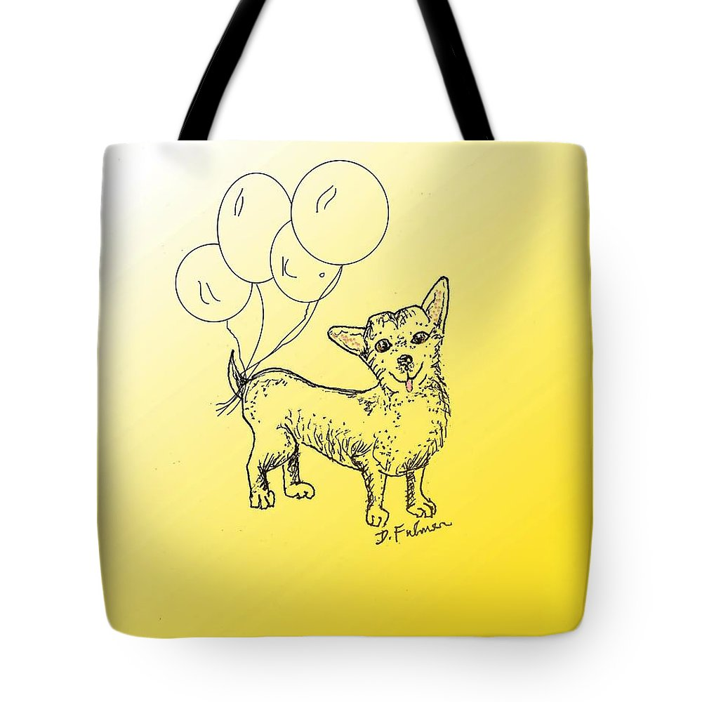 Animal Tote Bag featuring the drawing Chihuahua by Denise Fulmer