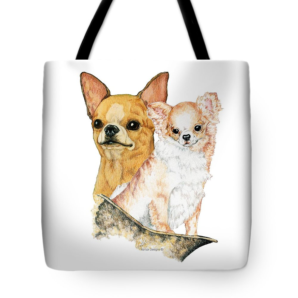 Chihuahua Tote Bag featuring the drawing Chihuahuas by Kathleen Sepulveda