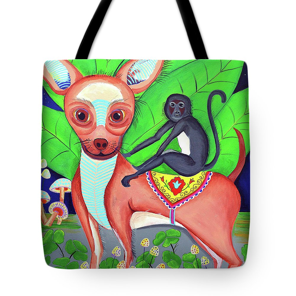 Chihuahua Portrait Tote Bag featuring the drawing Chihuahuaw/monkie by Arturo Martinez