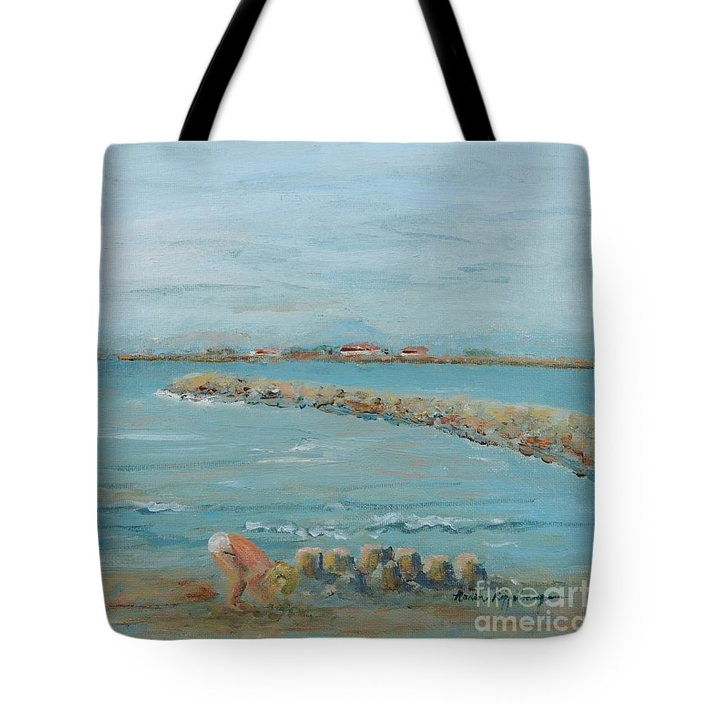 Beach Tote Bag featuring the painting Child Playing At Provence Beach by Nadine Rippelmeyer