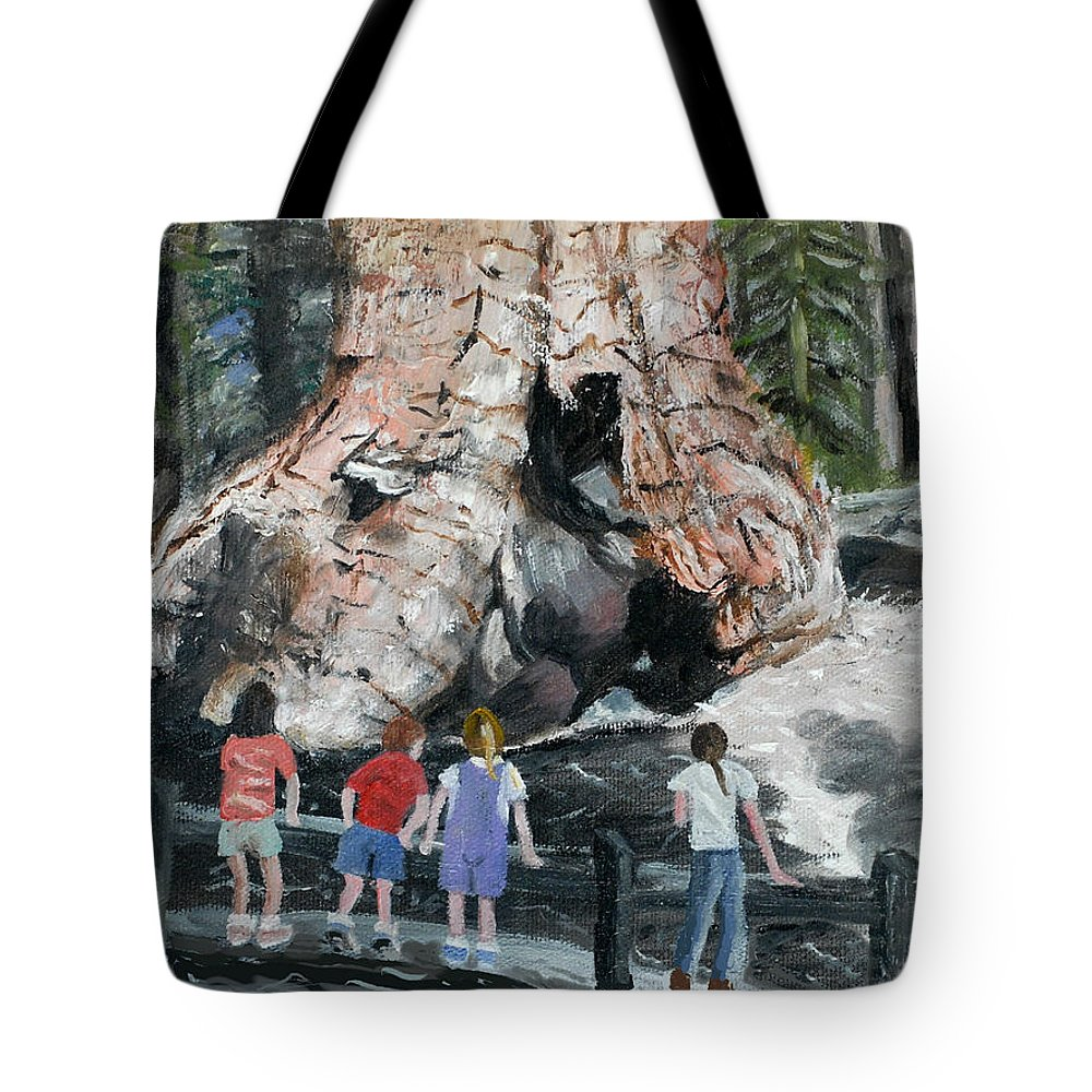 Children Tote Bag featuring the painting Children At Sequoia National Park by Quwatha Valentine