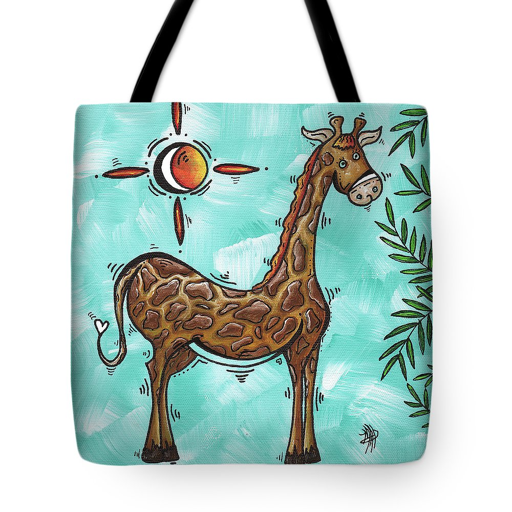 Childrens Tote Bag featuring the painting Childrens Nursery Art Original Giraffe Painting Playful By Madart by Megan Duncanson