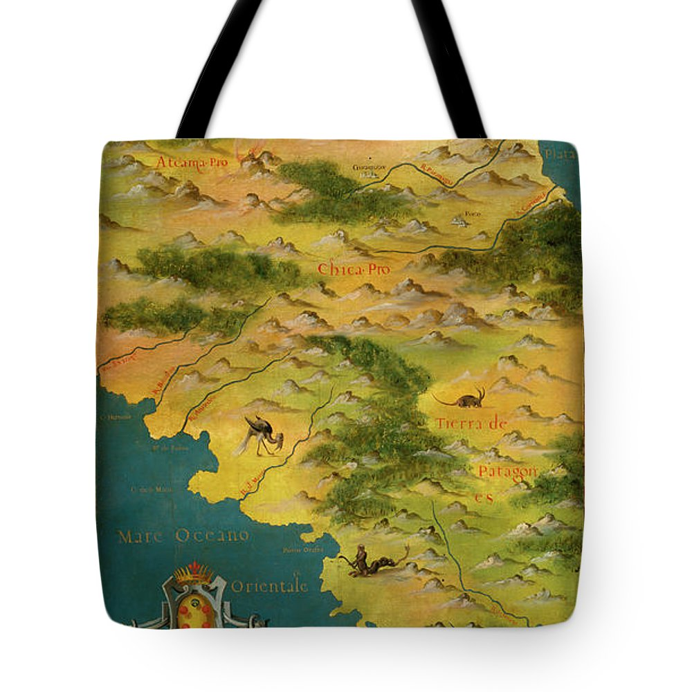 Map Tote Bag featuring the painting Chile And Argentina With The Magellan Strait by Italian painter of the 16th century