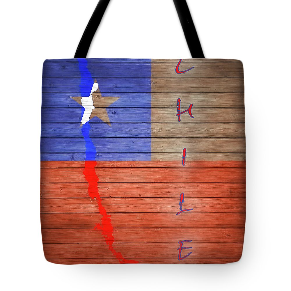 Chile Rustic Map On Wood Tote Bag featuring the mixed media Chile Rustic Map On Wood by Dan Sproul