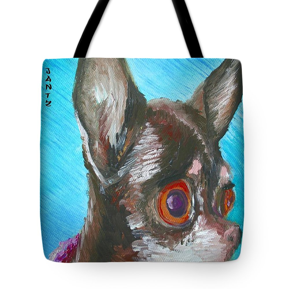 Dog Tote Bag featuring the painting Chili Chihuahua by Minaz Jantz