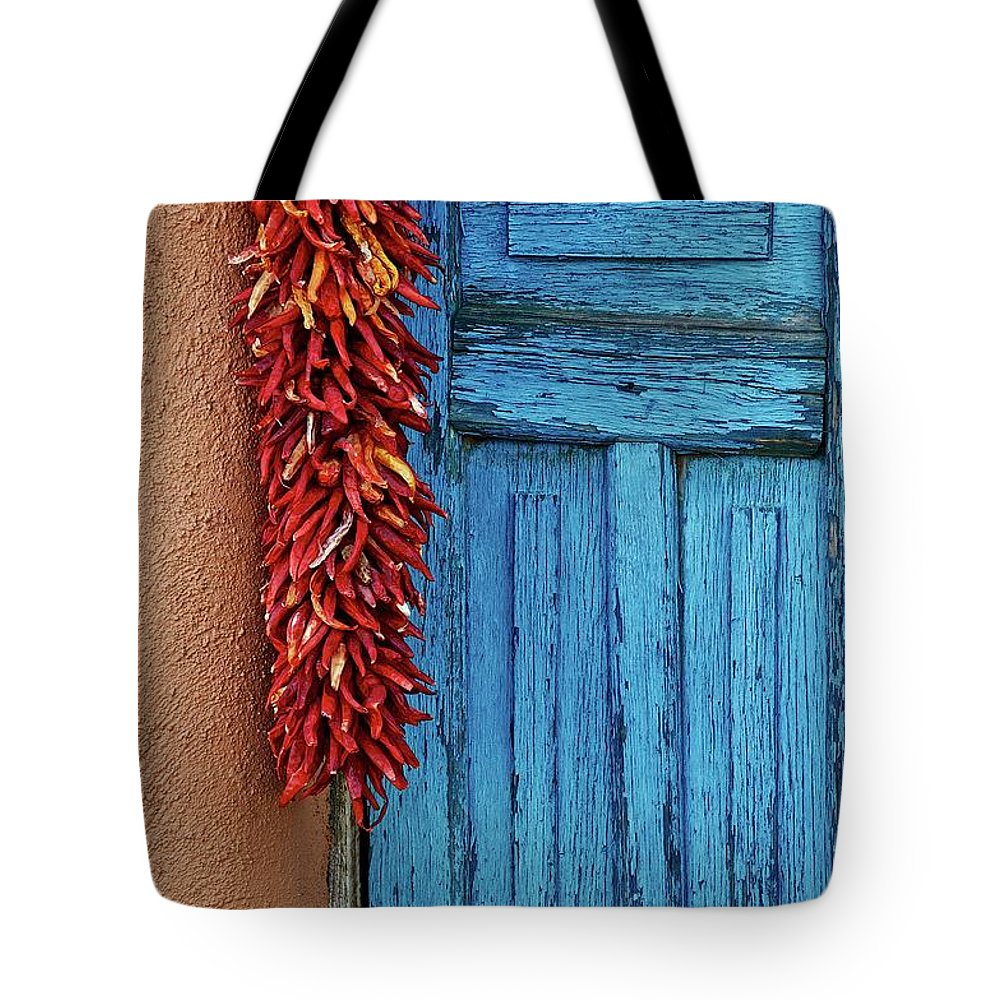 Southwest Tote Bag featuring the photograph Chili Peppers and Door Panel by Zayne Diamond Photographic