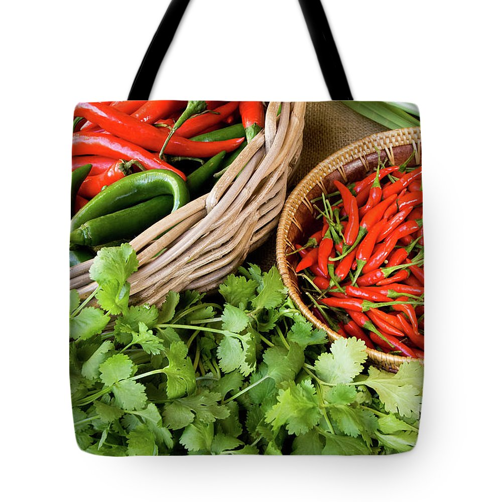 Basket Tote Bag featuring the photograph Chillies 08 by Rick Piper Photography