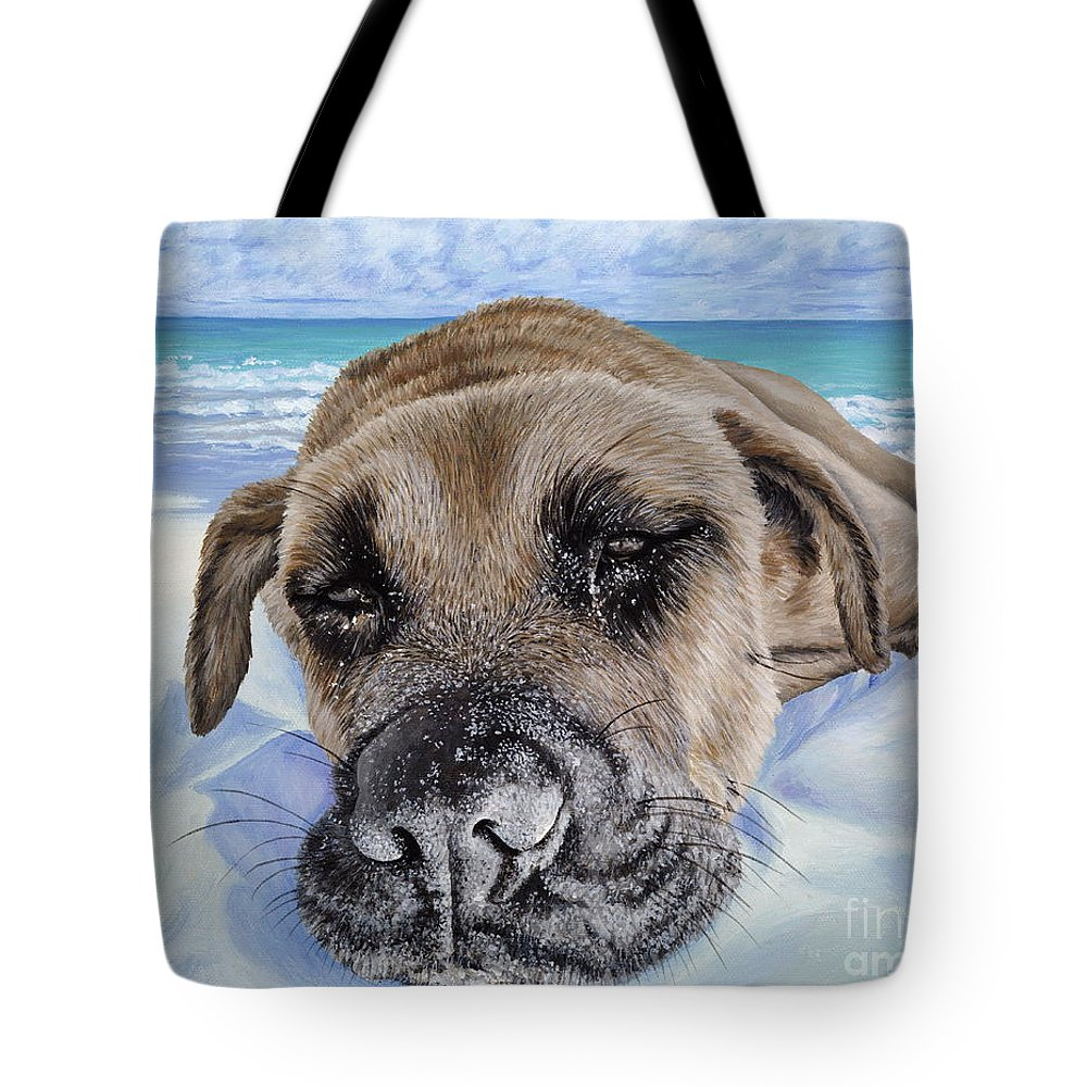 Pet Portrait Tote Bag featuring the painting Chillin In Briland by Danielle Perry