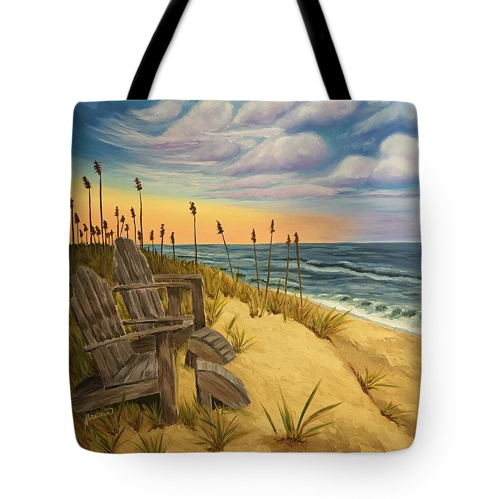 Beach Tote Bag featuring the painting Chillin by Nancy Breiman