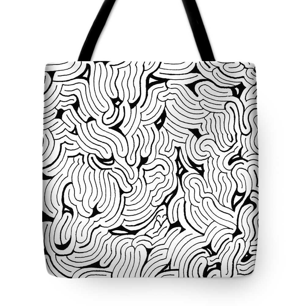 Mazes Tote Bag featuring the drawing Chilling by Steven Natanson