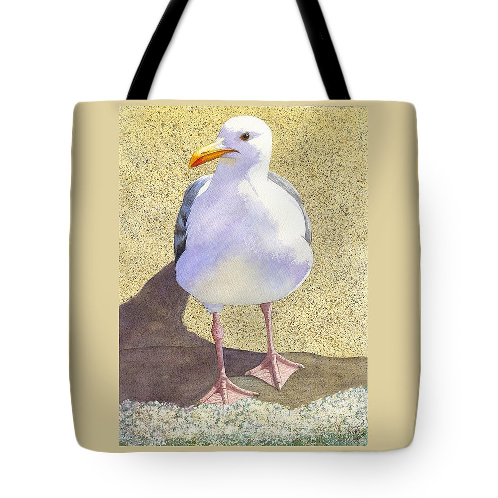 Seagull Tote Bag featuring the painting Chilly by Catherine G McElroy