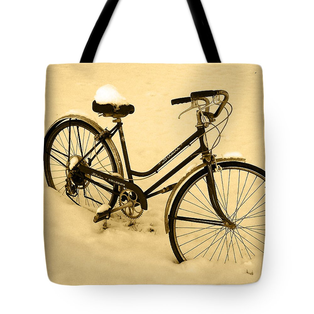 Sepia Art Tote Bag featuring the photograph Chilly Ride by Albert Stewart
