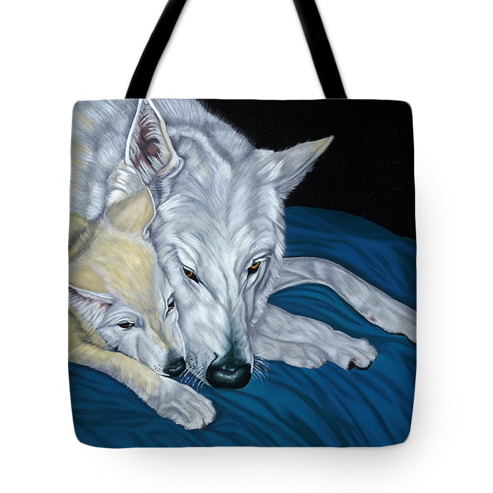 Animal Tote Bag featuring the painting Chimaya And Dakota by Lana Tyler