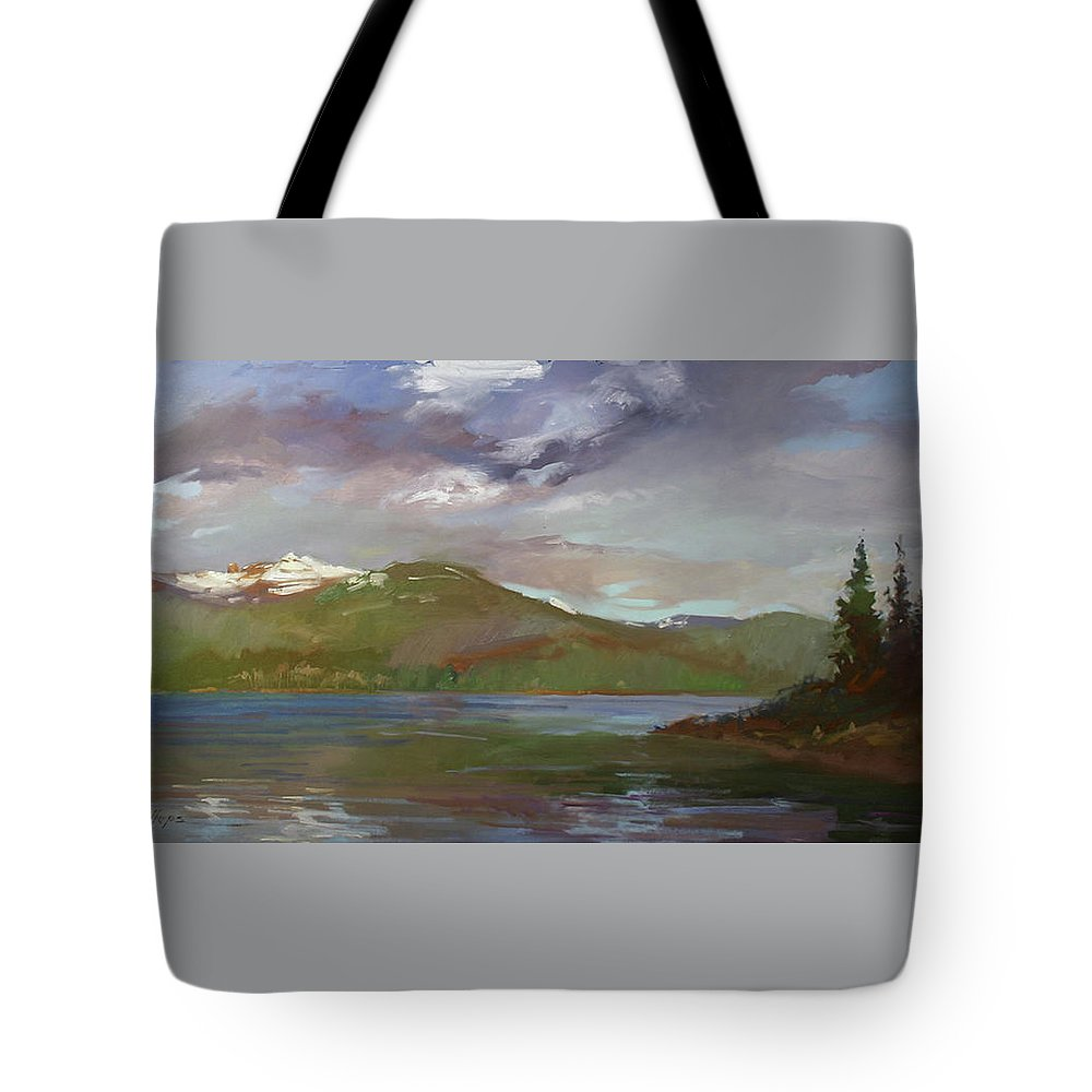 Murals Tote Bag featuring the painting Chimney Rock At Priest Lake Plein Air by Betty Jean Billups