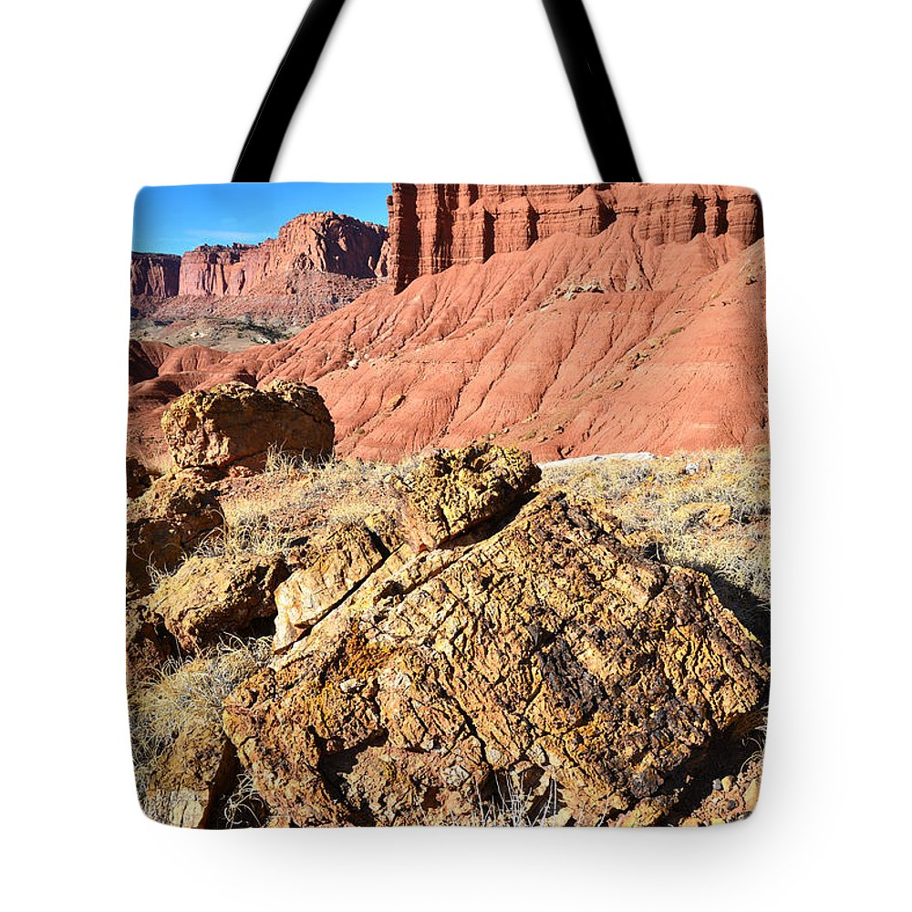 Capitol Reef National Park Tote Bag featuring the photograph Chimney Rock IIi by Ray Mathis
