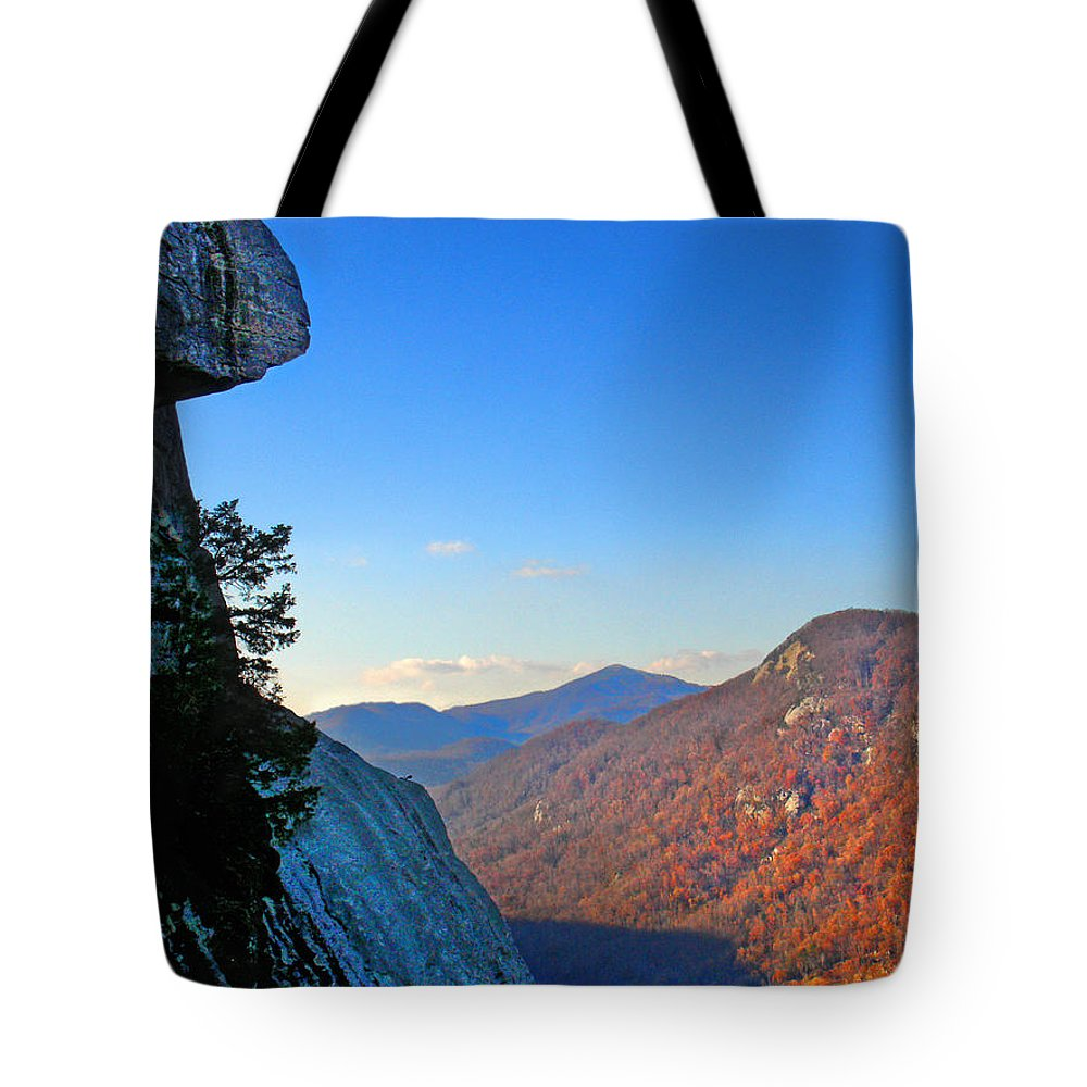 Landscape Tote Bag featuring the photograph Chimney Rock 2 by Steve Karol
