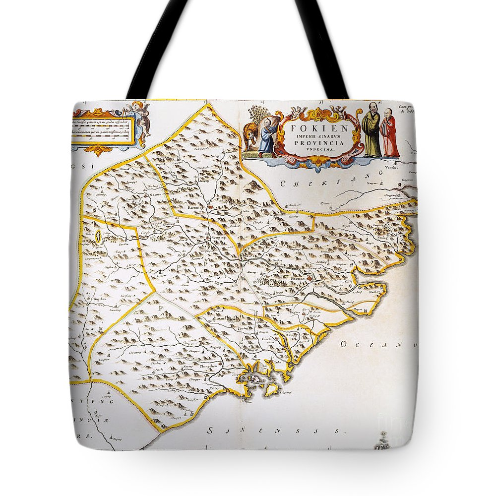 1662 Tote Bag featuring the photograph China: Fujian Map, 1662 by Granger