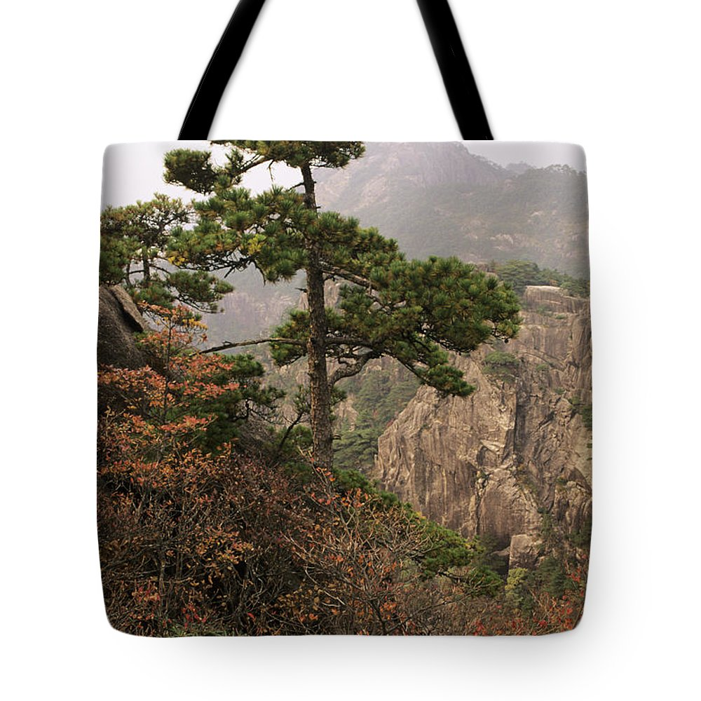 Asian Art Tote Bag featuring the photograph China, Mt. Huangshan by Larry Dale Gordon - Printscapes