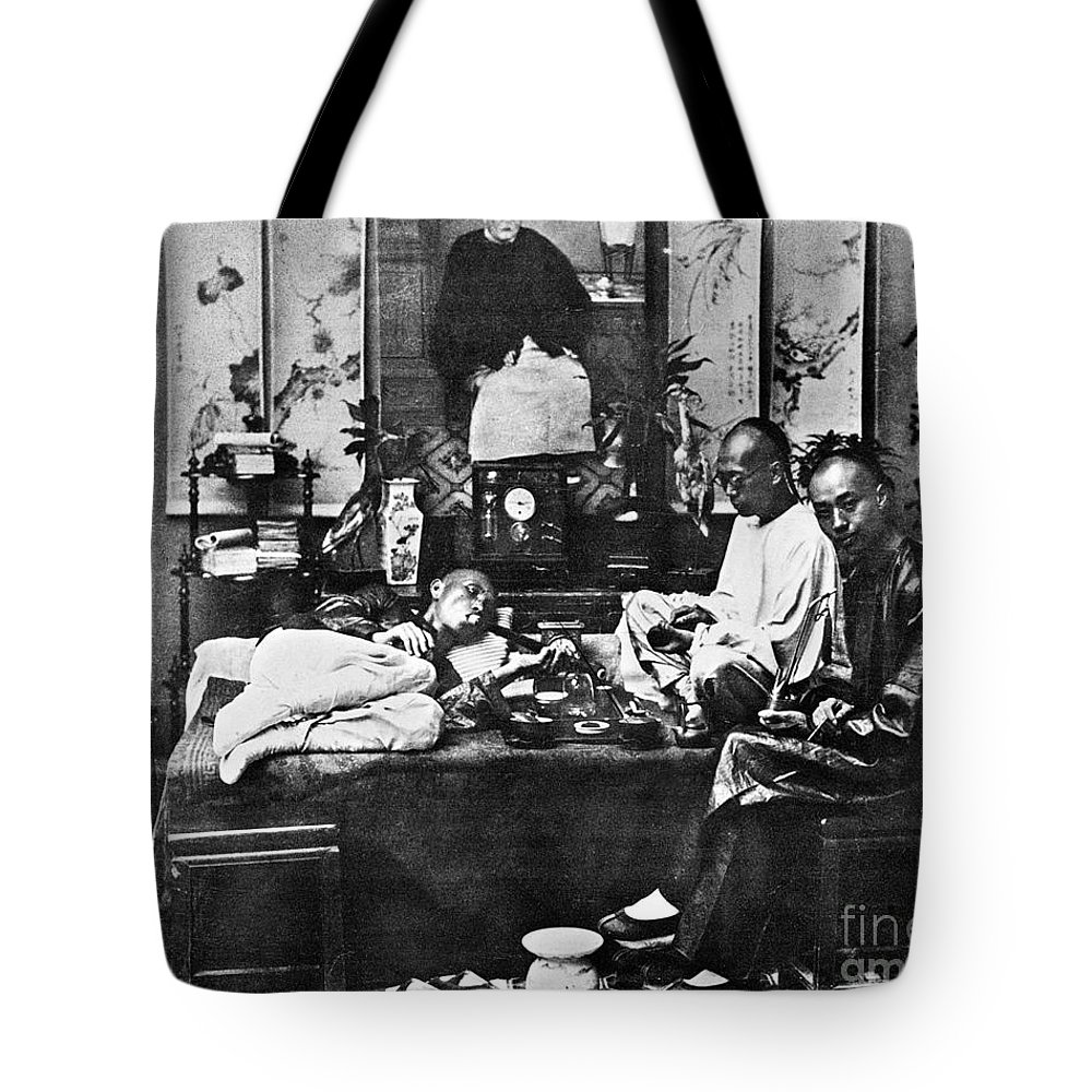 1880 Tote Bag featuring the photograph China: Opium Smokers by Granger
