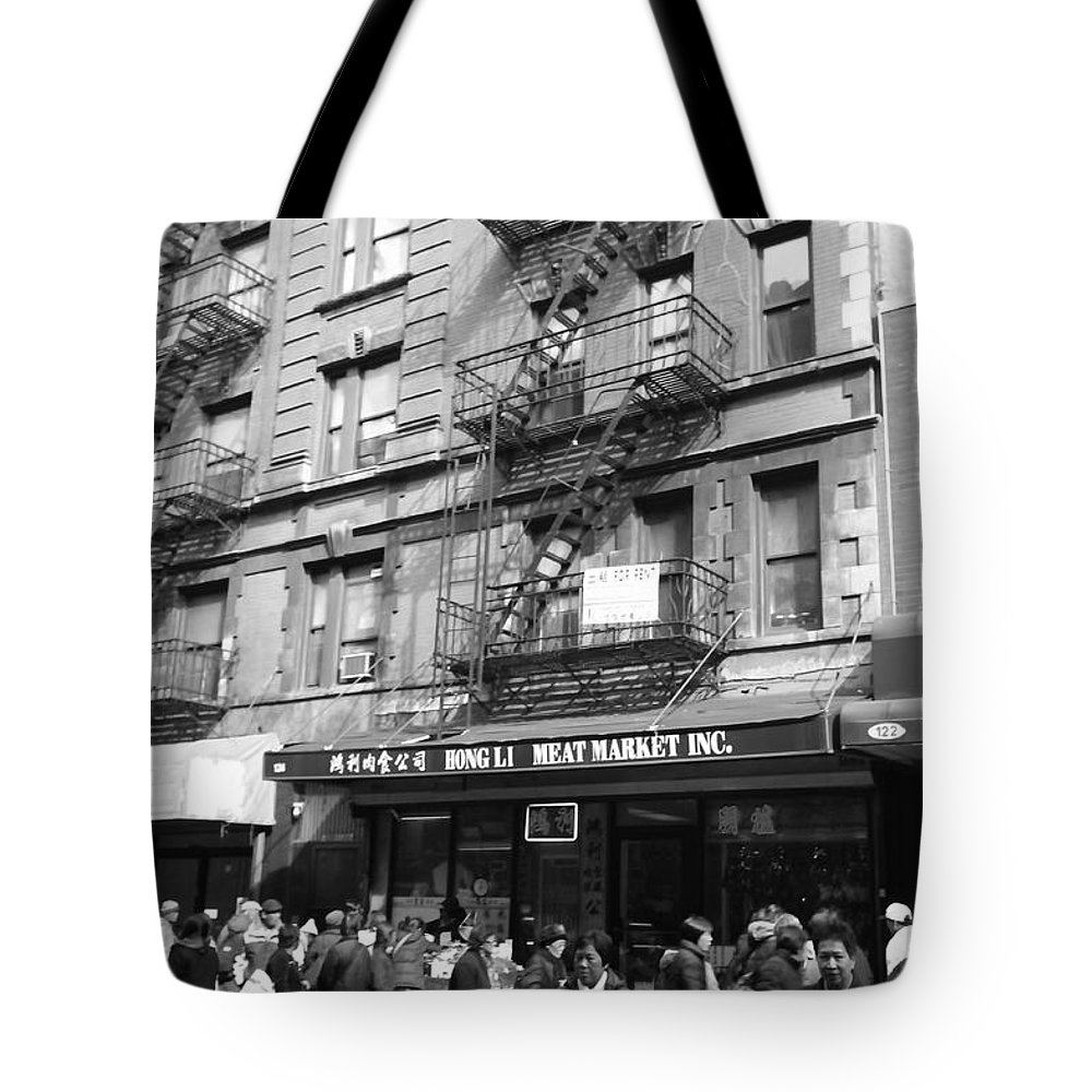 Landscape Tote Bag featuring the photograph Chinatown Storefront by Mary Haber