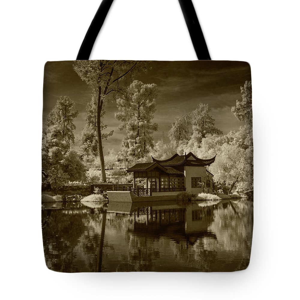 Garden Tote Bag featuring the photograph Chinese Botanical Garden In California With Koi Fish In Sepia Tone by Randall Nyhof