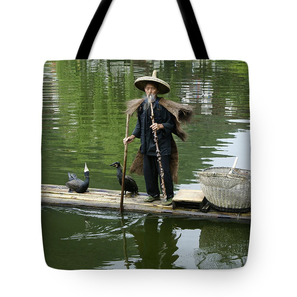 Asia Tote Bag featuring the photograph Chinese Cormorant Fisherman by Michele Burgess