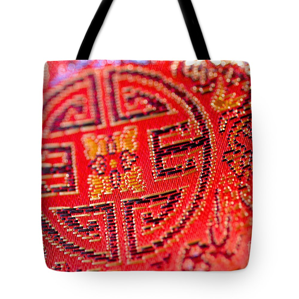 Asian Cultural Art Tote Bag featuring the photograph Chinese Embroidery by Ray Laskowitz - Printscapes