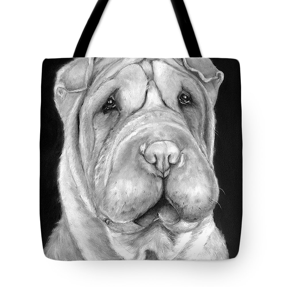 Sharpei Tote Bag featuring the painting Chinese Sharpei by Portraits By NC
