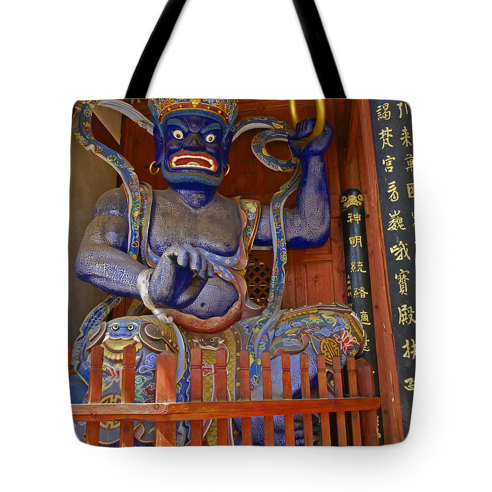 Asia Tote Bag featuring the photograph Chinese Temple Guardian by Michele Burgess
