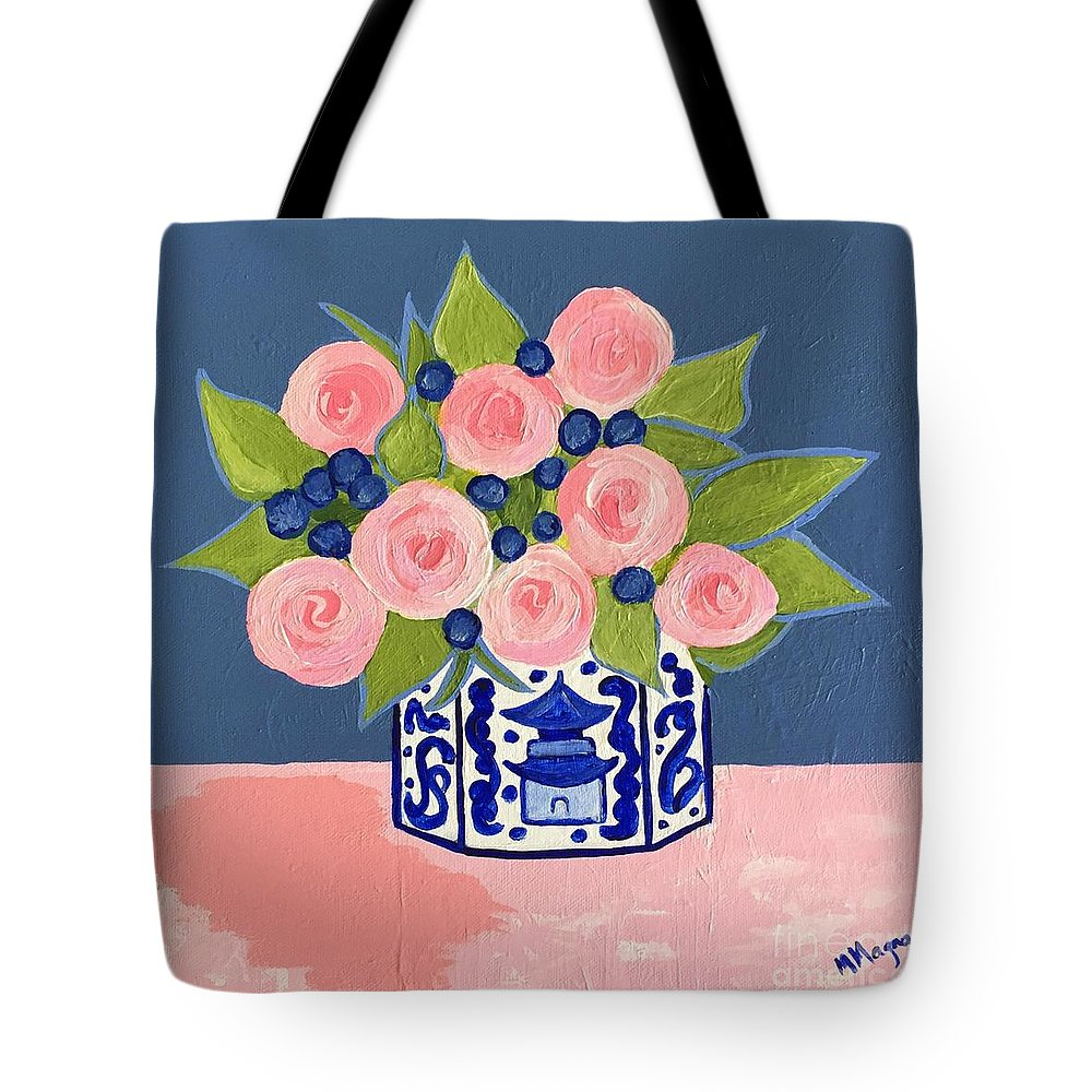 Chinoiserie Tote Bag featuring the painting Chinoiserie Vase 2 by Marti Magna