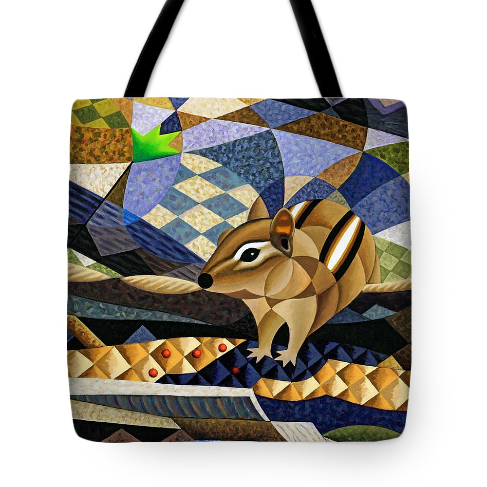 Bruce Bodden Tote Bag featuring the painting Chipmunk At Heckrodt by Bruce Bodden