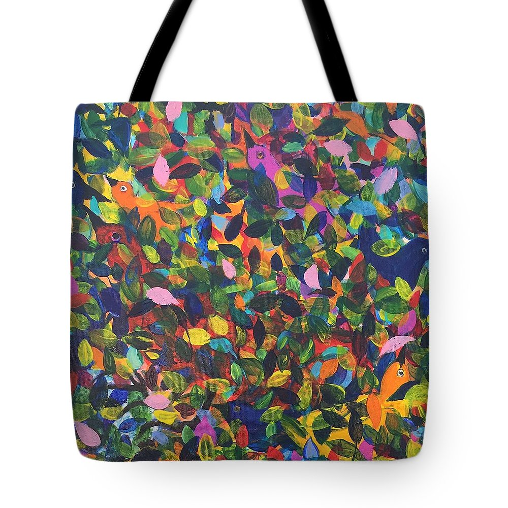 Abstract Tote Bag featuring the painting Chirp by Holly Sedgwick