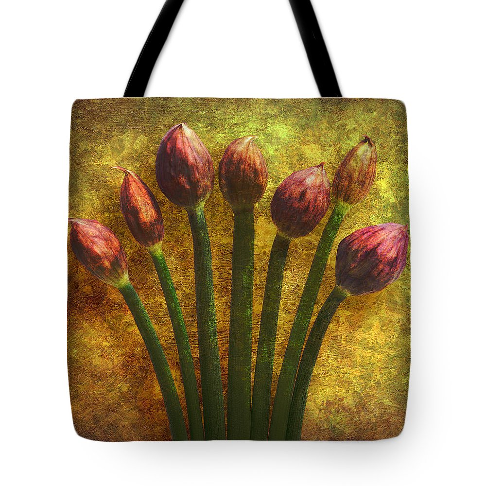 Texture Tote Bag featuring the digital art Chives Buds by Digital Crafts