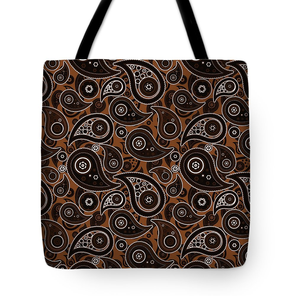 Chocolate Tote Bag featuring the digital art Chocolate Brown Paisley Design by Ross