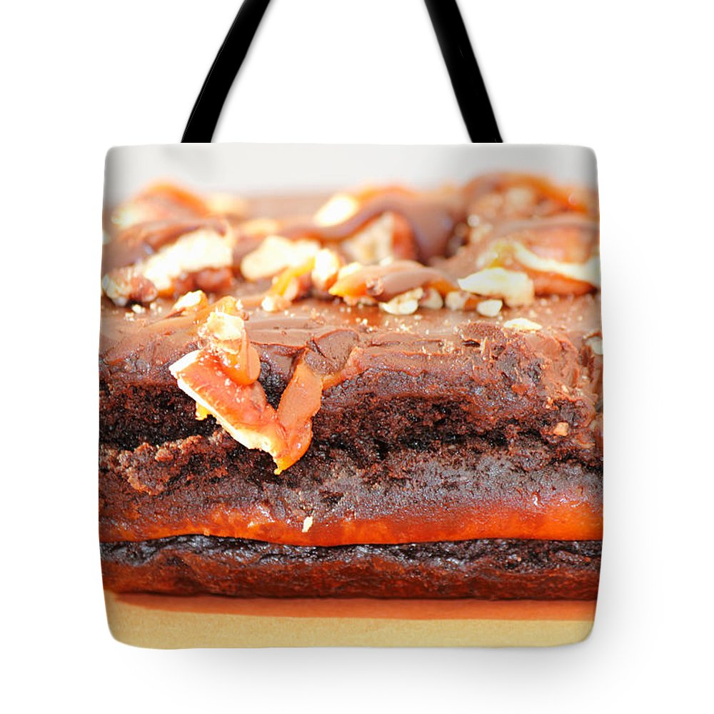 Brownie Tote Bag featuring the photograph Chocolate Brownie With Nuts Dessert by Lee Serenethos