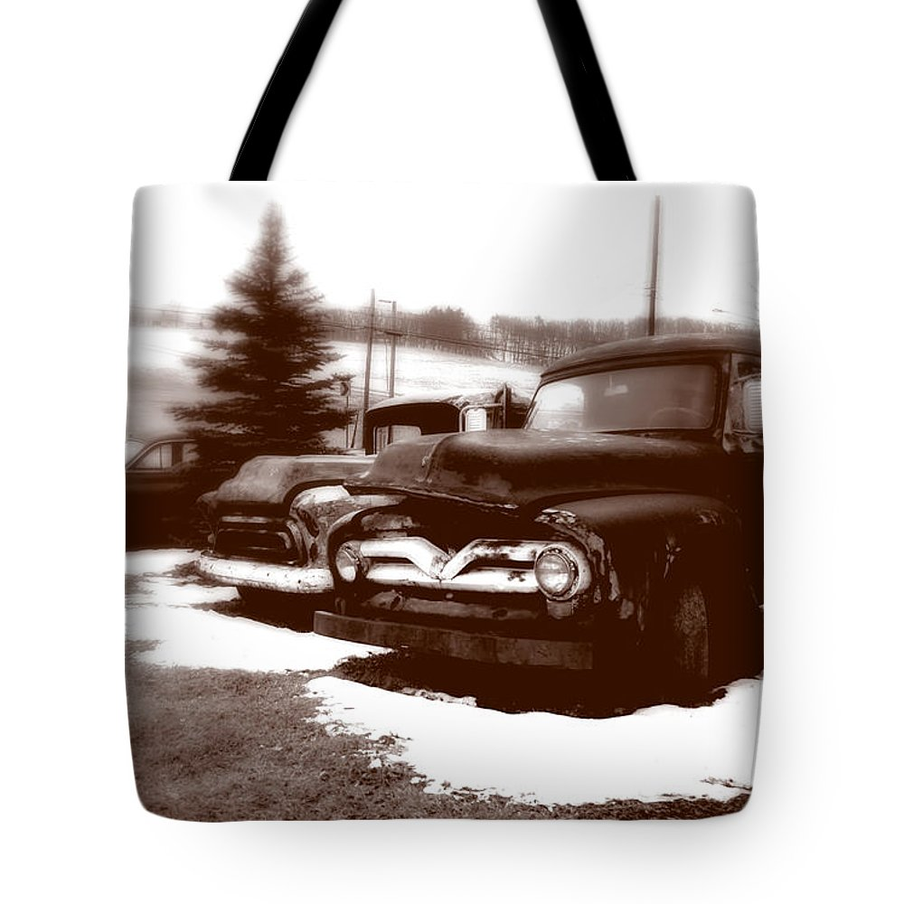 Old Cars Tote Bag featuring the photograph Chocolate Ghosts by Jean Macaluso
