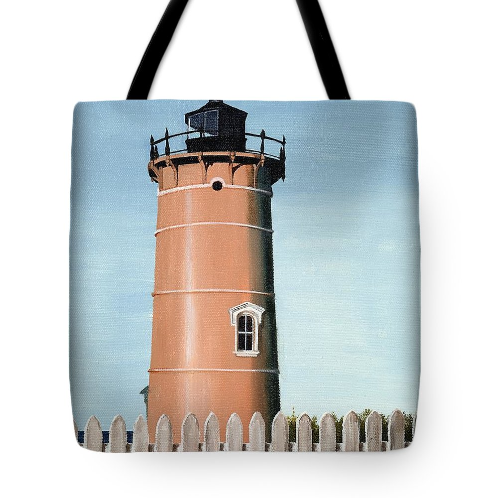 Lighthouse Tote Bag featuring the painting Chocolate Lighthouse by Mary Rogers