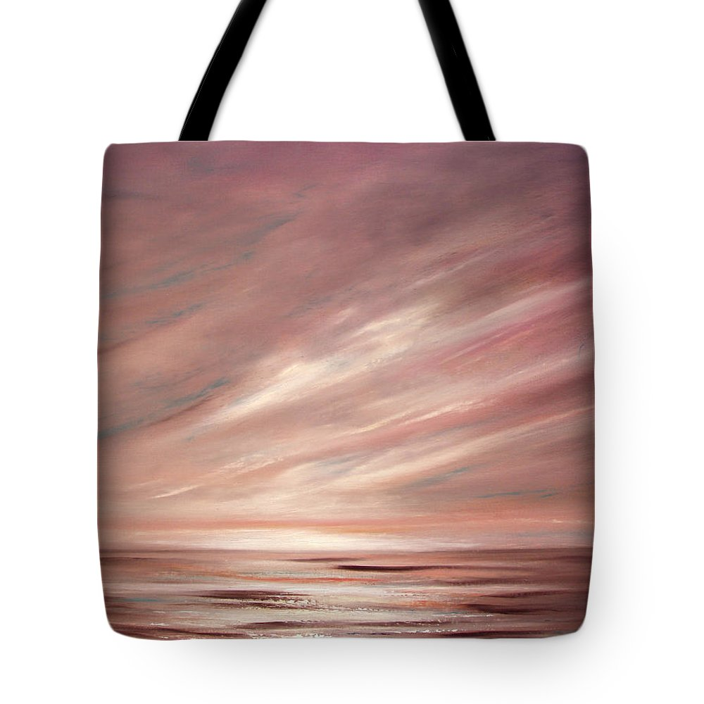 Brown Tote Bag featuring the painting Chocolate Shake Sunset by Gina De Gorna