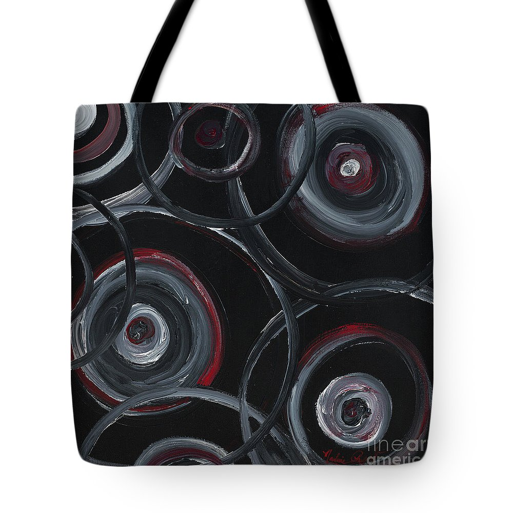 Circles Tote Bag featuring the painting Choices In Black by Nadine Rippelmeyer