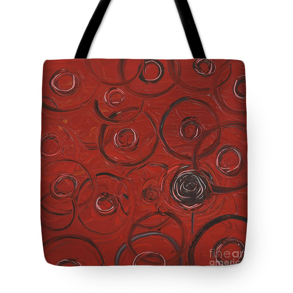 Red Tote Bag featuring the painting Choices In Red by Nadine Rippelmeyer