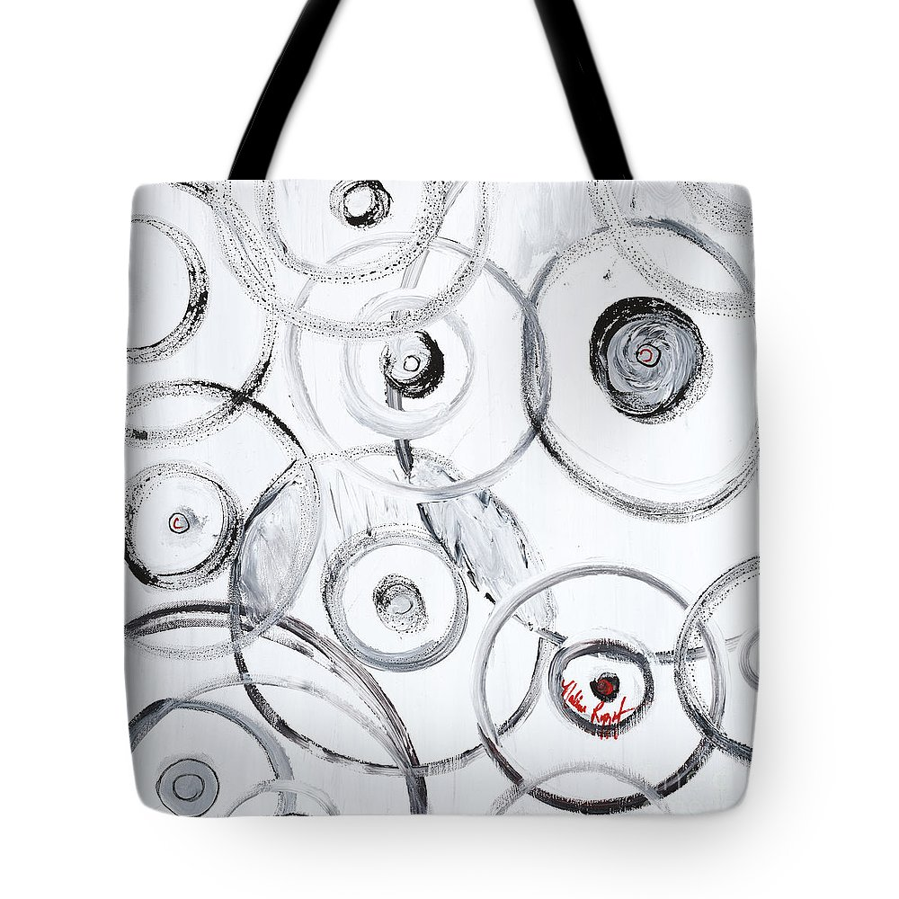 Circles Tote Bag featuring the painting Choices In White by Nadine Rippelmeyer