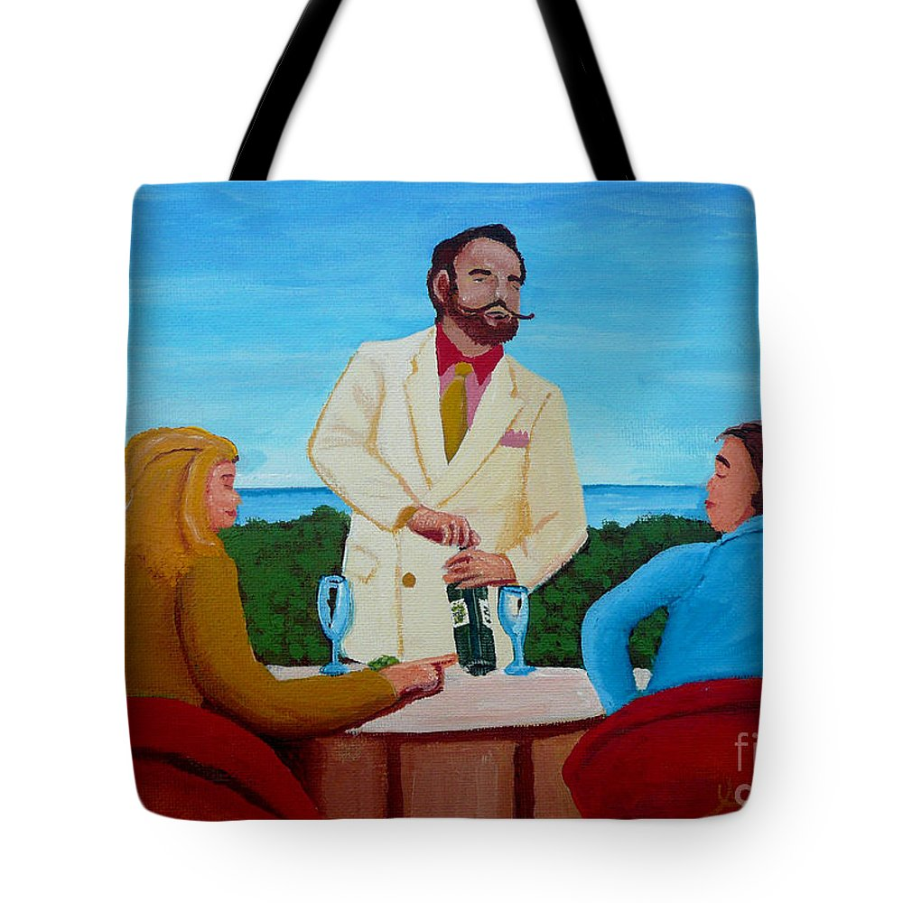 Wine Tote Bag featuring the painting Choosing The Wine by Anthony Dunphy