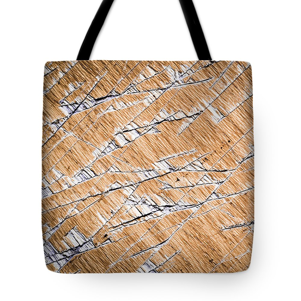 Dirty Tote Bag featuring the photograph Chopped Up Veneered Wood Board by Jozef Jankola